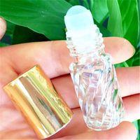 Bouteilles à rouleaux d'huile essentielle en verre clair 5 ml avec couvercle doré Aromathérapie parfumées Balms à lèvres Rouler sur des bouteilles