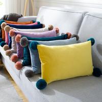 Funda de almohada 1pc Bola de felpa linda 30x50cm Casas de la sala de estar Decoración Oficina Sofá cubierta