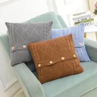 Presentes de malha Pillow Case Capa Europeia Crochet Botão Chevron sofá fronha Car Capa de Almofada Home Decor Natal 45 * 45 centímetros ZZA1171