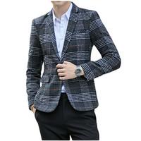 Lã Vintage Mens Blazers manta à moda do casamento Casual One Button Homens paletó do noivo Blazer Tweed Hommes Slim Fit Male Coats