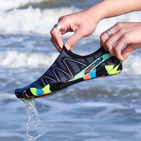 2018 أحذية رجالية المرأة شاطئ الصيف في الهواء الطلق الخوض النعال سباحة على تصفح سريع التجفيف أكوا أحذية الجلد أحذية سوك مخطط المياه