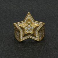 Hip Hop Mens Gold Anello gioielli di alta qualità a cinque punte stelle cubic zircone anelli d'argento per uomo