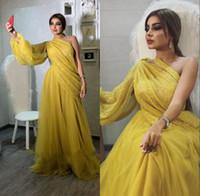 Amarillas vestidos de noche 2020 de manga larga con lentejuelas de los vestidos de noche Ropa formal elegante más el tamaño de vestido de fiesta de Abendkleider robe de soirée