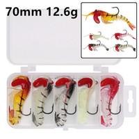 1 Box + 5 Cor Jigs 70 milímetros 12,6 g de camarão anzol de pesca Ganchos anzóis macias Iscas Lures Pesca Acessórios de d-011