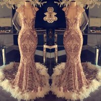 Champagne Sparkly Halter Mermaid Prom Dresses with Feathers Sequins Lace Top Formal Evening Dresses 2020 Celebrity Party Gowns