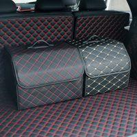 Tronc de voiture Heavy Pu cuir de rangement porte-intérieurs / panier de rangement Organiseur Boot boissons Sacs de rangement automobile automobile