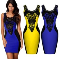 Hot Fashion Women Lace Dress Sexy Crochet Bodycon Bandage Party Night Club Abiti senza maniche Guaina Abito da ufficio casual