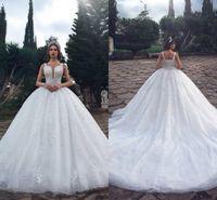 Crystals de luxe Robe d'arabe Robe de mariée arabe 2019 Dentelle vintage en dentelle paillette Perlée Perlée Plus Taille Musulman Dubaï Vestido de Novia Robes de mariée