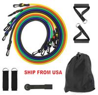 미국 주식 DHL의 11pcs / 설정 천연 고무 라텍스 피트니스 저항 밴드 운동 튜브 실용 탄성 교육 로프 요가 풀 로프 빌라도