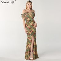 f65322129d Latest Design Off Shoulder Sexy Evening Dresses Multicolored Sequins Luxury  Split Front Evening Gowns Serene Hill