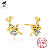 ORSA JEWELS S925 Christmas Deer Stud Earrings Women Newest C...