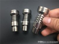 Универсальный Domeless Titanium Titanium Nail GR2 Гвозди 14мм 18мм мужчина стекла Бонг водопроводная труба 2-в-1 Titanium Dab Nail Dab Рог