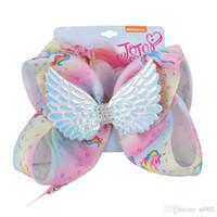 Color de las alas Jojo Siwa arcos del pelo Barrette hecha a mano exquisita muchacha de los niños del unicornio de la horquilla de 8 pulgadas grande 10dz joyería del arco iris del Bowknot Ww