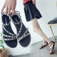 Heel Heel Female Rivet Summer Flat Bottom Round Sandal Woman...
