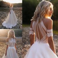 2021 Schöne Perlen Böhmische Brautkleider Sehen, obwohl Top Reich Taille Schulter Kurze Ärmel Romantische Spitze Satin A-Line Land Hochzeit