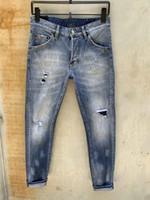 Mens Jeans Denim Jean Black Ripping Pants pour Hommes Men S Italie Mode motard Moto Rock Revival Jeans High QieXz