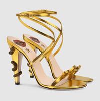 패션 뱀 높은 뒤꿈치 여성 샌들 여름 섹시한 샌들 여름 신발을 인쇄 여성 Sandalias 여성 신발 펌프 플러스 사이즈 34 ~ 43