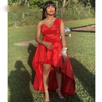 Krótki przedni back długie dziewczyny sukienki do domu Sweetheart czerwona tafta balowa sukienki wysokie niskie spotkania homcoming vestido