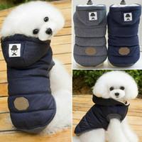 Traje para mascotas ropa para perros de invierno chaqueta de la capa gruesa de algodón con capucha del caniche del gato Perros de perrito Escudo pequeño cachorro de tela perro de invierno