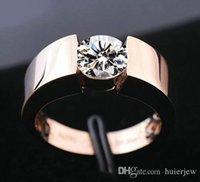 Anneaux de mariage Hommes Femme Fiançailles Bague Silver 18K Rose Plated Gold Cz Diamond Lovers Promise Bague pour hommes Femmes