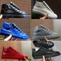 الرجال الساحة أحذية رياضية التجاعيد الجلود عالية الأعلى الرجل شقة عارضة الأحذية الأزياء الدانتيل متابعة منخفضة قطع المدربين أحذية حجم 36-47