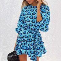 Luxus-Designer Twist Verband Rundhals gedruckt lange Ärmel Mehrfarbenschirm Rockkleid Mode für Damen Kleidung Damen