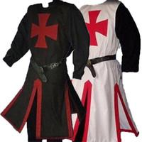 중세 전사 성인 기사 가운 셔츠 용 기사단 십자군 의상 Top Cross Tabard Surcoat 튜닉 복장 플러스 사이즈 AU8689