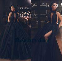 Schwarze Abendkleider für Frauen tragen Abschlussballkleid Halter Backless Naher Osten Dubai Caftan Taschen Arabisch Partykleider Hohe Split Tüll Falten
