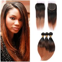 Drie Tone Hair Extensions # 1b 4 30 Medium Auburn Ombre Peruaanse Menselijk Haar Weave Bundels Straight With Ombre Lace Closure Piece 4x4