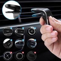 L Tipo de Auto magnética soporte para teléfono Salida de aire de Clip soporte del teléfono del montaje para el iPhone Samsung Huawei GPS universal con paquete al por menor
