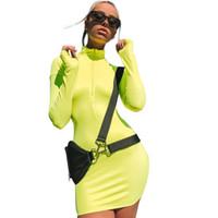 Neue sommer herbst casual kleider mode frauen langarm halb offenen reißverschluss kragen gerade einfarbig dress engen sexy mini dress