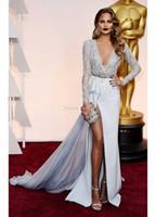 High-coscia Slits abiti da sera manica lunga maggiore perline Christine Teigen Prom speciale occasione abiti vestito celebrità