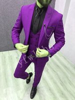 Handsome One Button Groomsmen picco risvolto smoking dello sposo degli uomini Wedding Dress Man blazer Prom Cena adatta (Jacket + Pants + Tie + Vest) W18