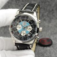 Transocean Men 시계 44MM 석영 크로노 그래프 날짜 망은 세계 시간 블랙 다이얼과 가죽 끈을 가진 우수한 Wrtistwatches 시계