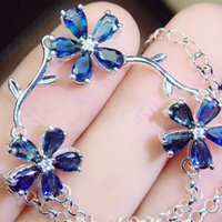 Natural real sapphire flower style chain bracelet Free shipp...