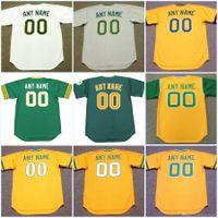 Oakland Toutes les brodes cousues Personnalisée N'importe quel nom N'importe quel numéro Retror Baseball Jersey pour Mens Womens Youth High Quelayty Livraison gratuite