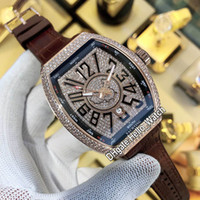 Роскошный Vanguard Classic New Saratoge V45 SC DT China Map Commorative Diamond Diale автоматические мужские часы роза золото коричневая кожа Hello_Watch