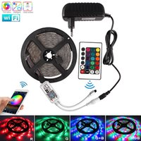 5M 2835 fita RGB Led Light Strip WiFi Waterproof Fita DC 12V Diodo flexível Tiras Fita Led Neon Stripe + adaptador de controle remoto