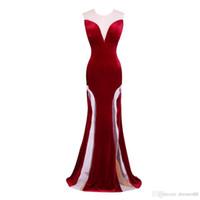 2020 Elegant Jewel Creux Velvet Sexy Back Soirée Robes Bourgogne Plancher Longueur Soirée Robes De Pal Robe de soirée Tulle Nightdress