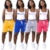 Women Outfit Champion Tank+ Shorts 2 Piece Set Summer Tracks...