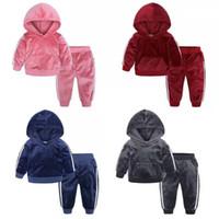 12 seçimler 9M-7T çocuklar tasarımcı eşofman kız erkek 2adet altın kadife kapüşonlu Suits Seti bebek erkek kıyafetler toddle lüks giysiler
