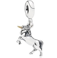 جودة عالية ريال s925 فضة يونيكورن الحصان استرخى سحر قلادة صالح لل باندورا سوار diy الخرزة سحر مع الذهب مطلي القرن