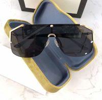 Büyük Boy Kalkanı Güneş 0291 Altın Siyah Gri Lens Güneş Gafas de sol Kadınlar Erkekler lüks gözlük tasarımcısı Maske kutusu ile Shades Yeni güneş gözlüğü