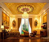 Benutzerdefinierte Jede Größe 3D Wandbild Tapete Großen europäischen Stil High-end villa Decke Fresko Wohnzimmer Schlafzimmer Decke Tapeten Wohnkultur