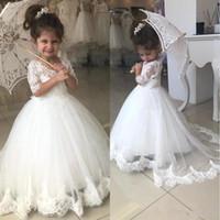 BC2526 vestidos de niña para las bodas media manga con cuello en V Appliques del cordón del tren del barrido fiesta de cumpleaños del niño de flor precioso vestido vestido de primera comunión