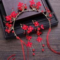 신부 웨딩 헤어 쥬얼리 붉은 꽃 Tiaras 머리띠 장식 장식품 여자를위한 여자 Hairbands 빨간 귀걸이