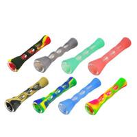 2019 más nuevos de silicona suave Pipas del multicolor Mini Pipes tubo portable de la mano de cristal de silicona Hold para la hierba del tabaco seco irrompible