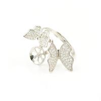 S925 Silber Perle Ringbeschläge Diy Mund Einstellbare Fingerringhalterung Halbfertige Hohlkonsole Mikroeinsatz Butterfly PS4MJZ040