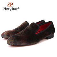 8581f9bf333 Casual shoes Piergitar 2019 new Paisley designs men s velvet loafers  Fashion party and wedding men dress shoes Handmade smoking slipper