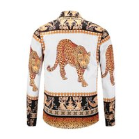Trend of the golden leopard print Men' s Loose long slee...